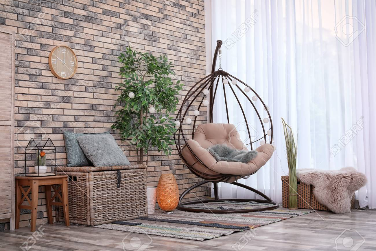 Comfortable Hanging Chair In Modern Living Room Interior Stock Photo Picture And Royalty Free Image Image 111419225