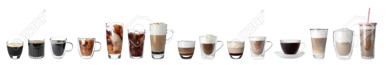 Set with different types of coffee drinks on white background - 108763137