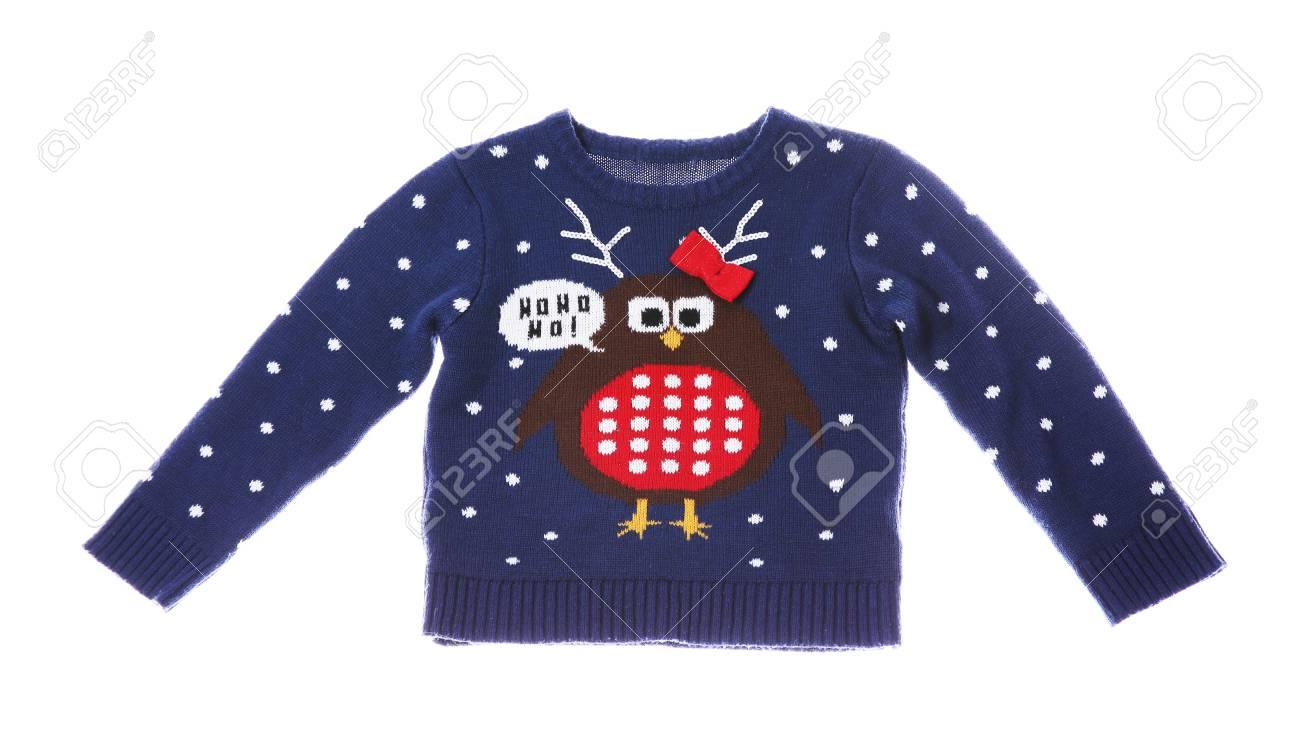 Blue And White Christmas Sweater.Warm Christmas Sweater On White Background Seasonal Clothing