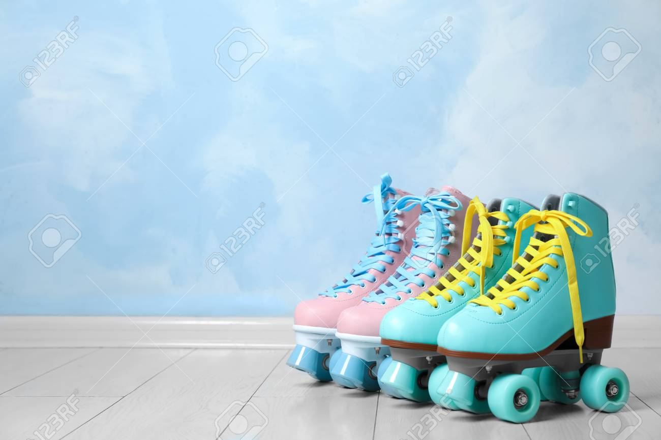 Vintage Roller Skates On Floor Near Color Wall Space For Text Stock Photo Picture And Royalty Free Image Image 112649069