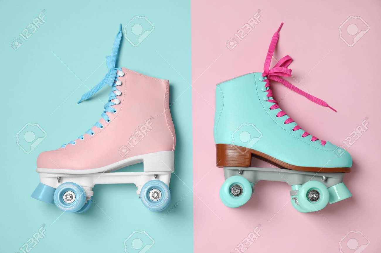 Vintage Roller Skates On Color Background Top View Stock Photo Picture And Royalty Free Image Image 112348829