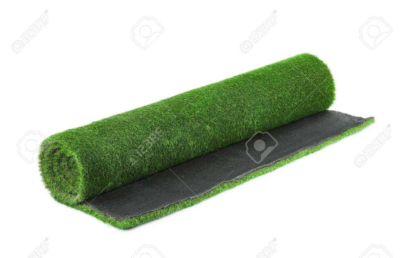 Rolled artificial grass carpet on white background. Exterior element - 112643896