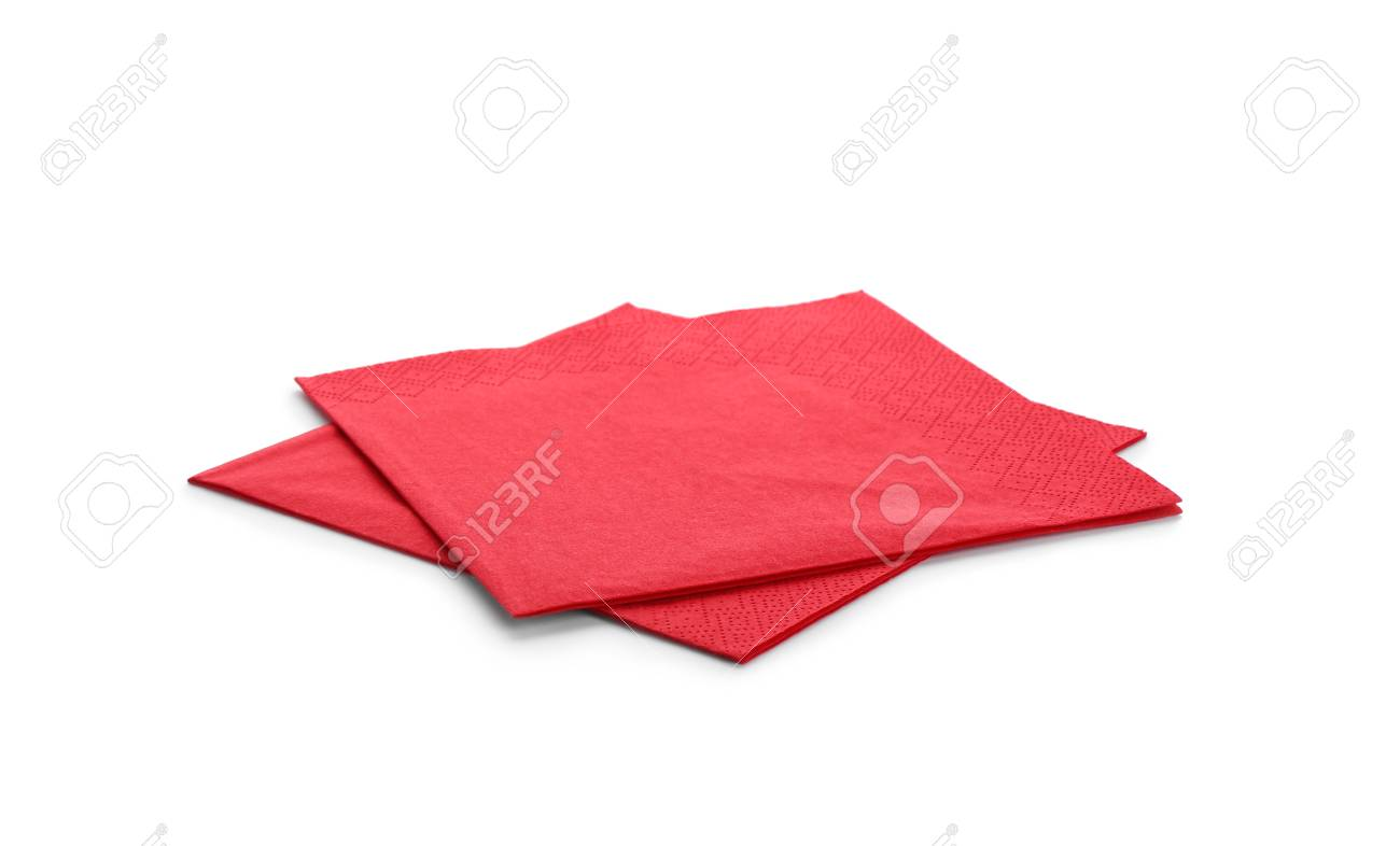 Clean paper napkins on white background. Personal hygiene - 112877479