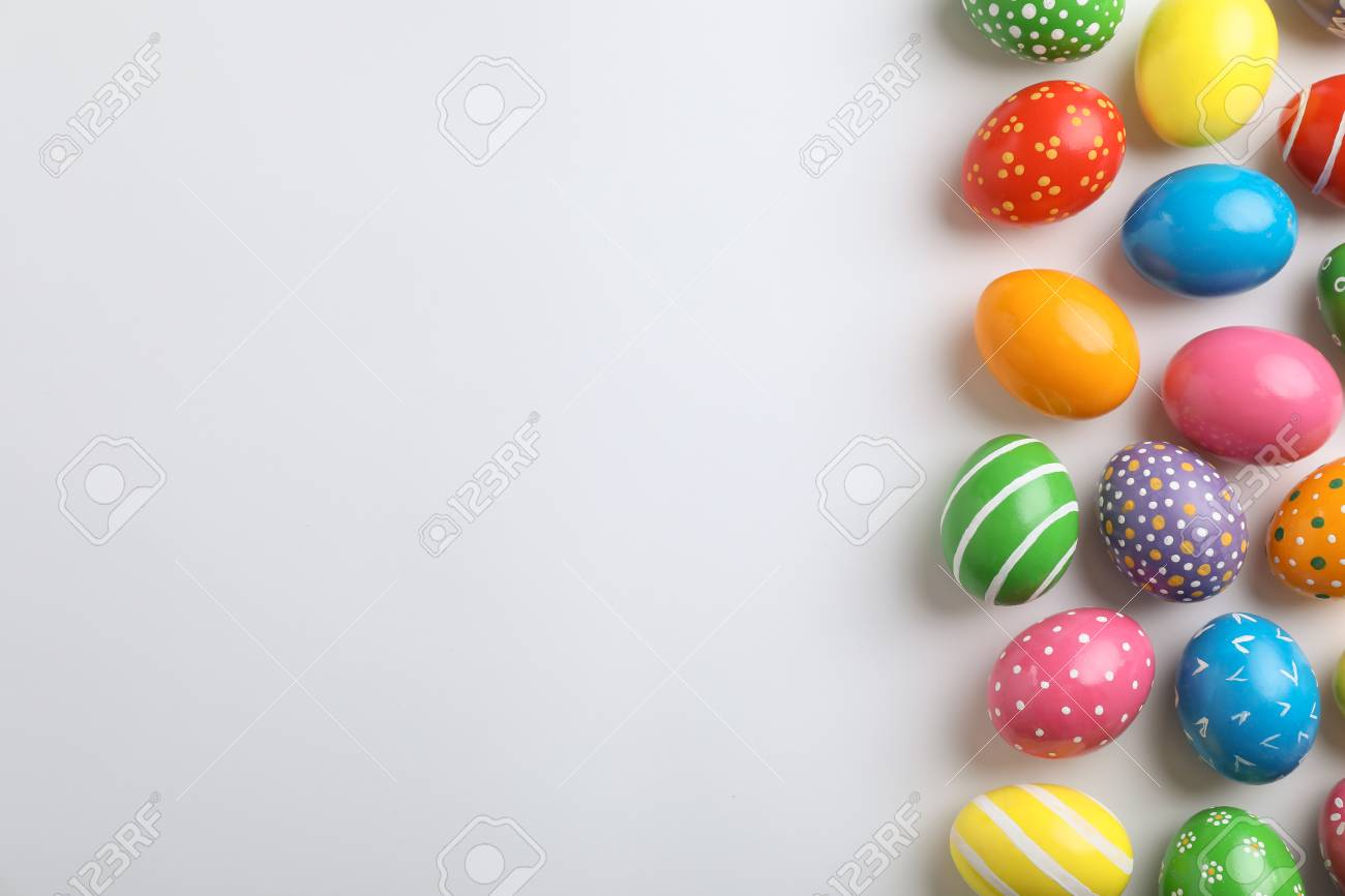 Decorated Easter Eggs And Space For Text On White Background Top