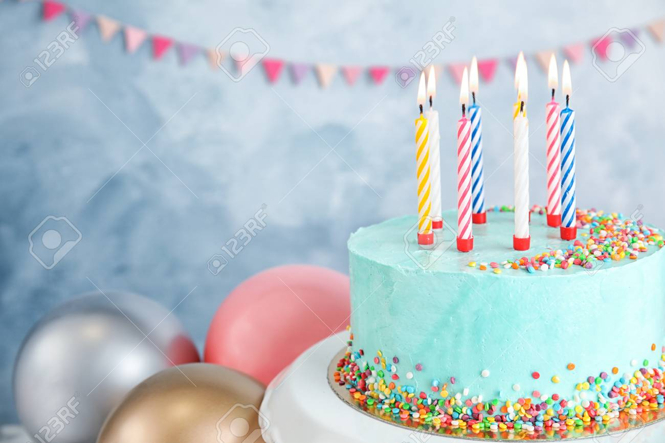 Terrific Fresh Delicious Birthday Cake With Candles Near Balloons On Color Funny Birthday Cards Online Elaedamsfinfo