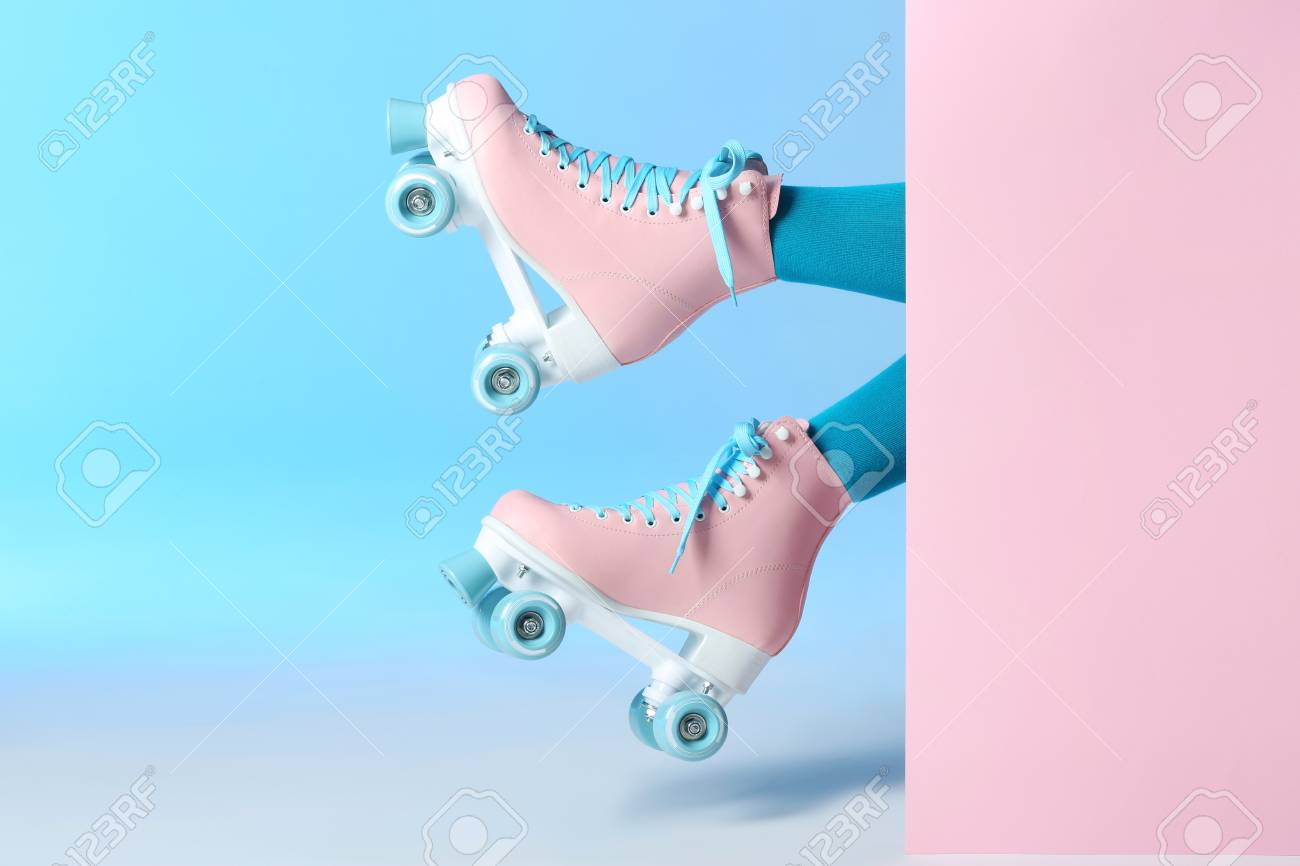 Woman With Vintage Roller Skates On Color Background Closeup Stock Photo Picture And Royalty Free Image Image 116411015
