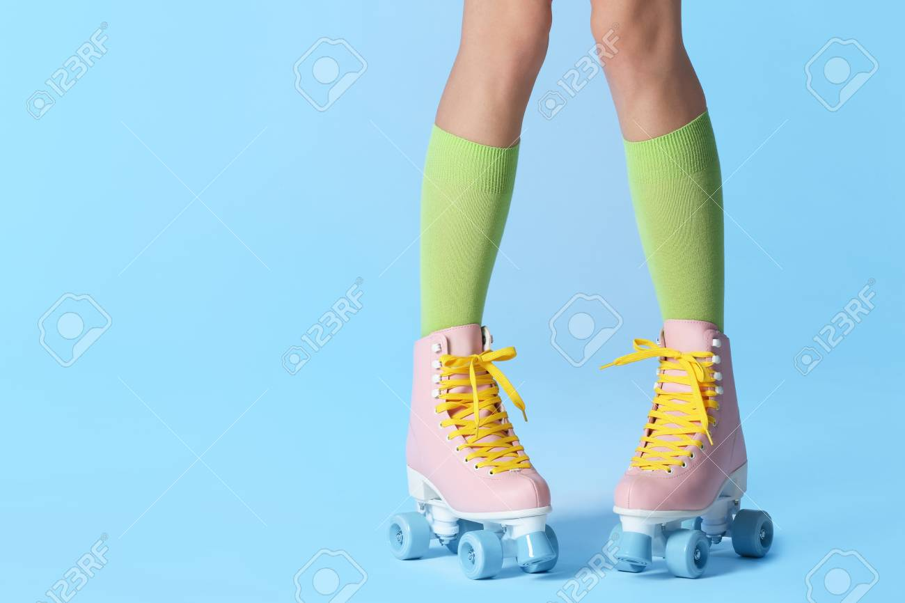 Woman With Vintage Roller Skates On Color Background Closeup Stock Photo Picture And Royalty Free Image Image 116358954