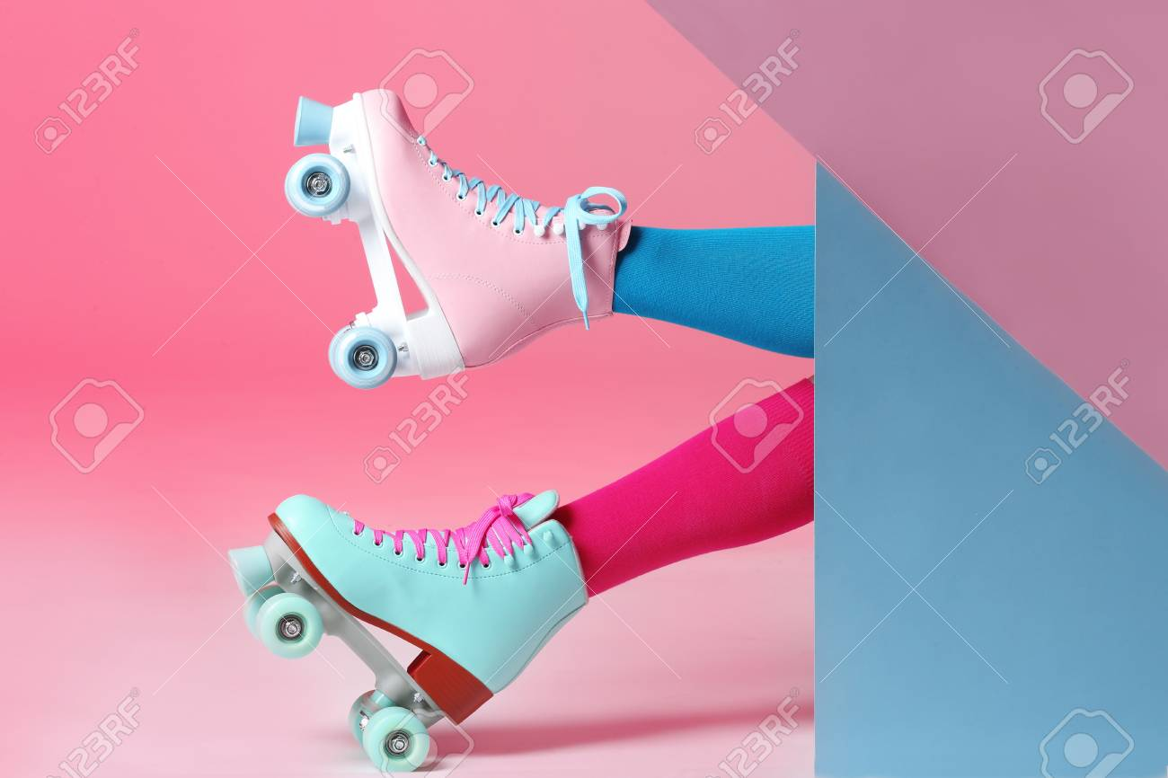 Woman With Vintage Roller Skates On Color Background Closeup Stock Photo Picture And Royalty Free Image Image 116452727
