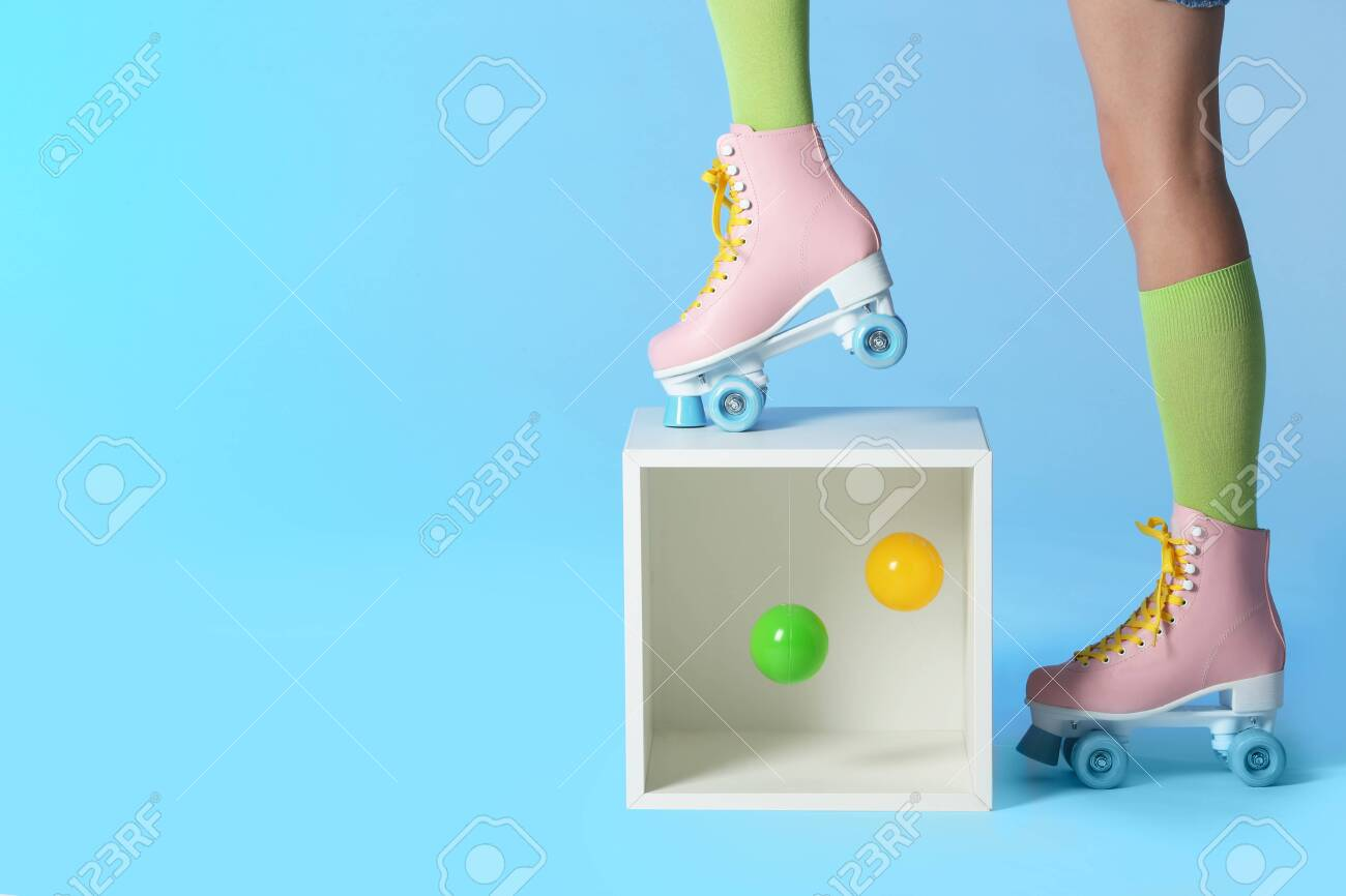 Woman Wearing Vintage Roller Skates Near Storage Cube With Balls Stock Photo Picture And Royalty Free Image Image 116504326
