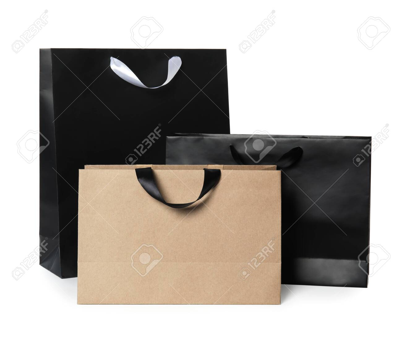 Paper shopping bags isolated on white. Mock up for design - 116555775