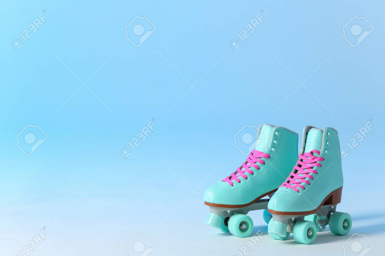 Pair Of Vintage Roller Skates On Color Background Space For Stock Photo Picture And Royalty Free Image Image 117745903