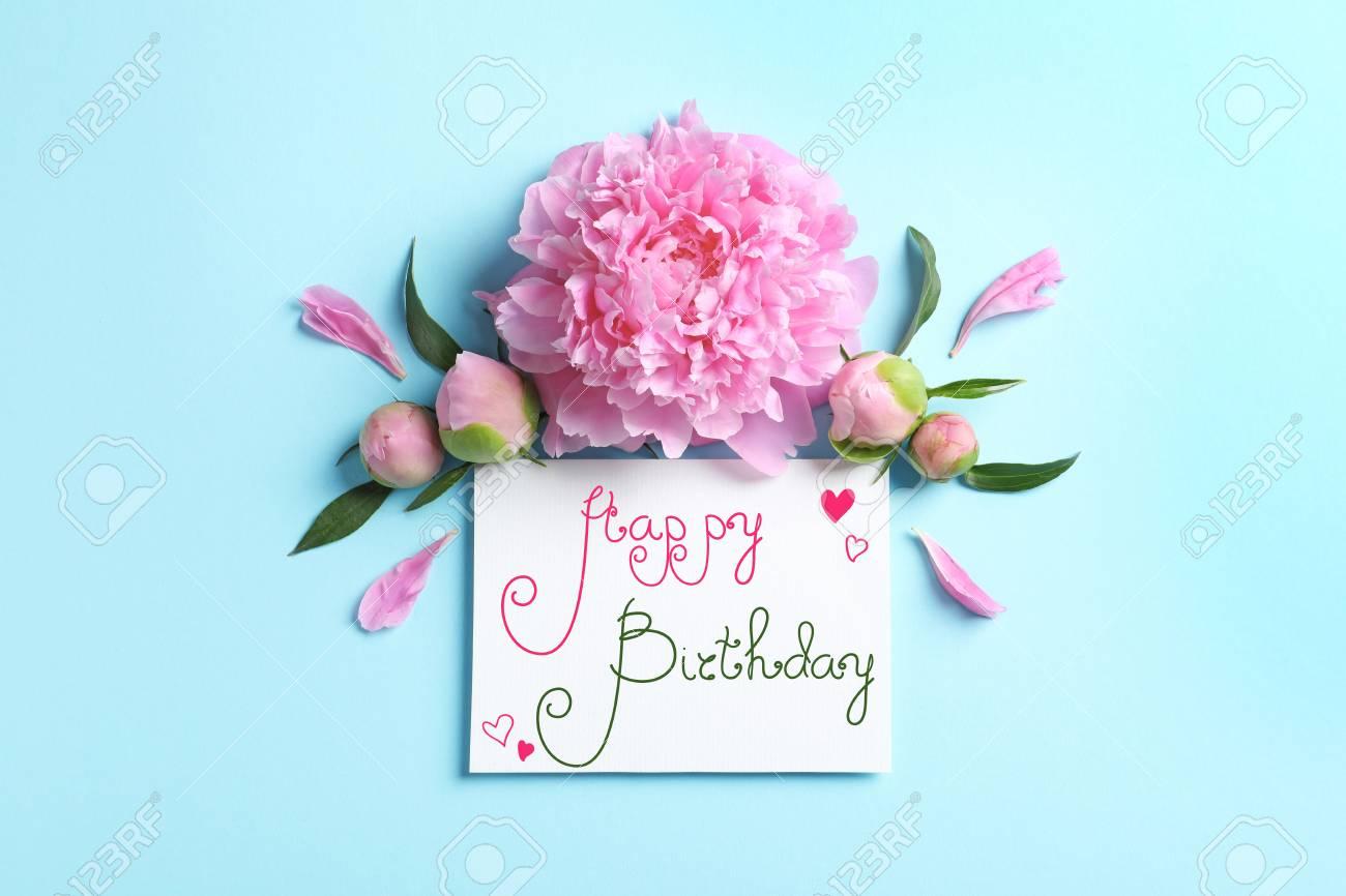 Peonies birthday greeting card Happy Birthday yellow peonies blue turquoise  BIR-PEONIES flowers
