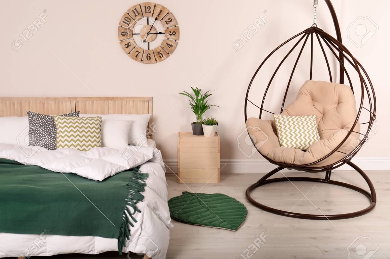 Modern Bedroom Interior With Comfortable Hanging Chair Stylish