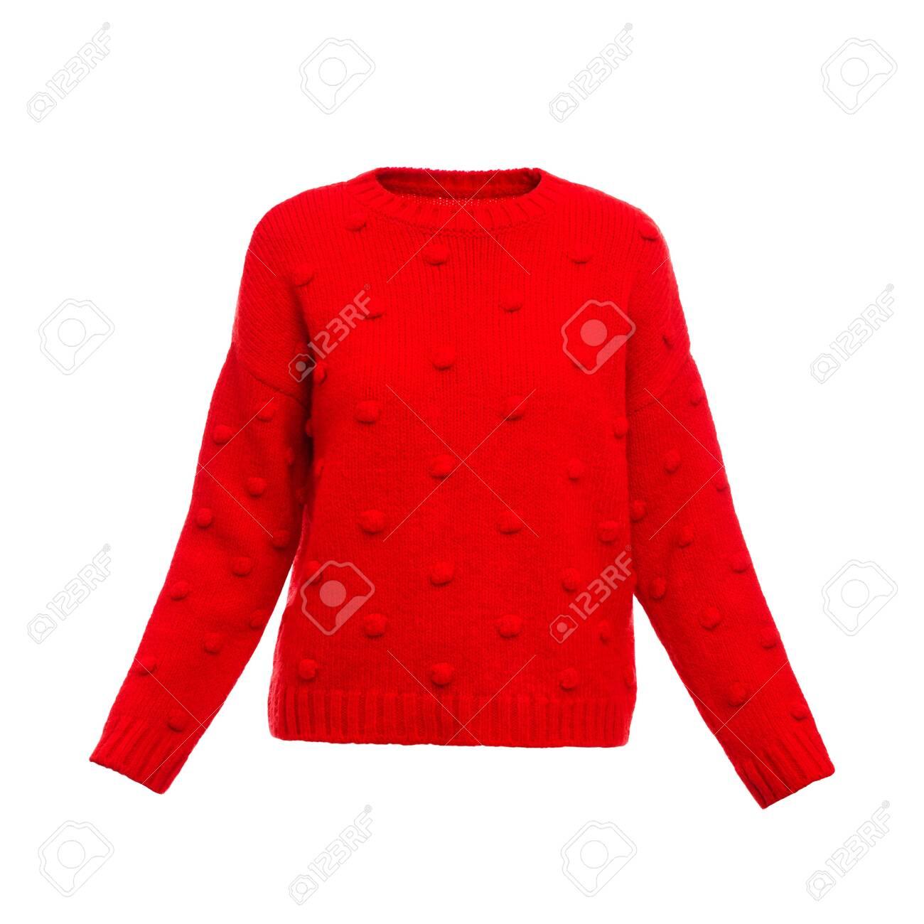 Stylish warm female sweater on white background - 119537620