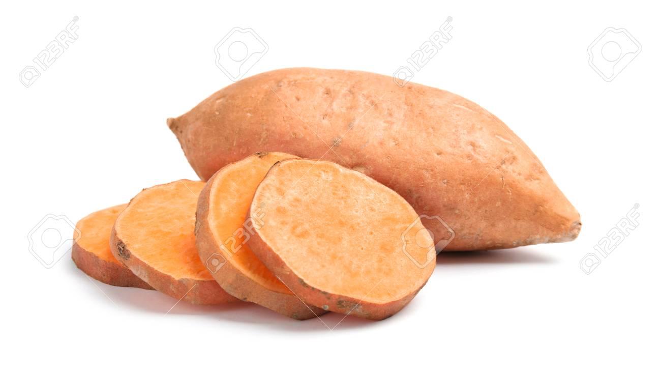 Fresh ripe sweet potatoes on white background - 120048006