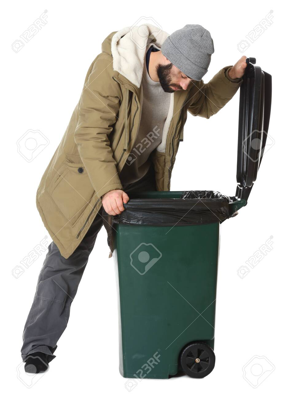Poor Homeless Man Digging In Trash Bin Isolated On White Stock ...
