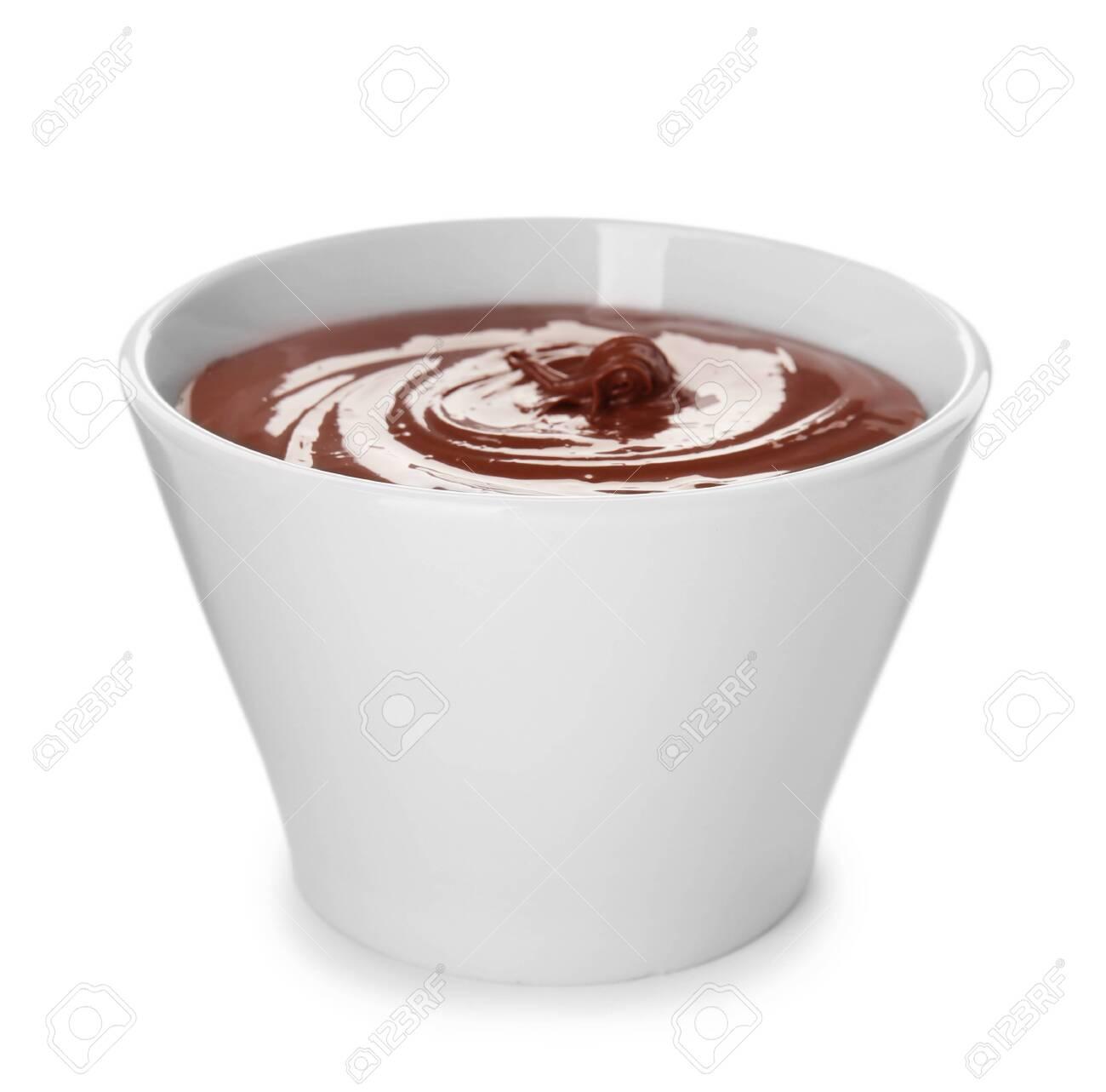 Bowl of sweet chocolate cream isolated on white - 120964146