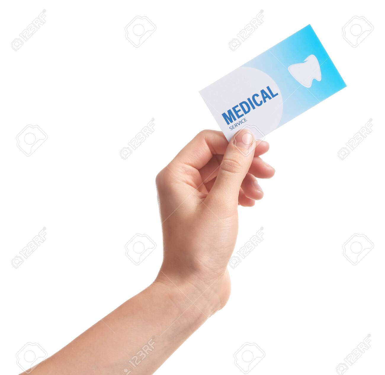Woman holding business card isolated on white, closeup. Dental medical service - 122285142