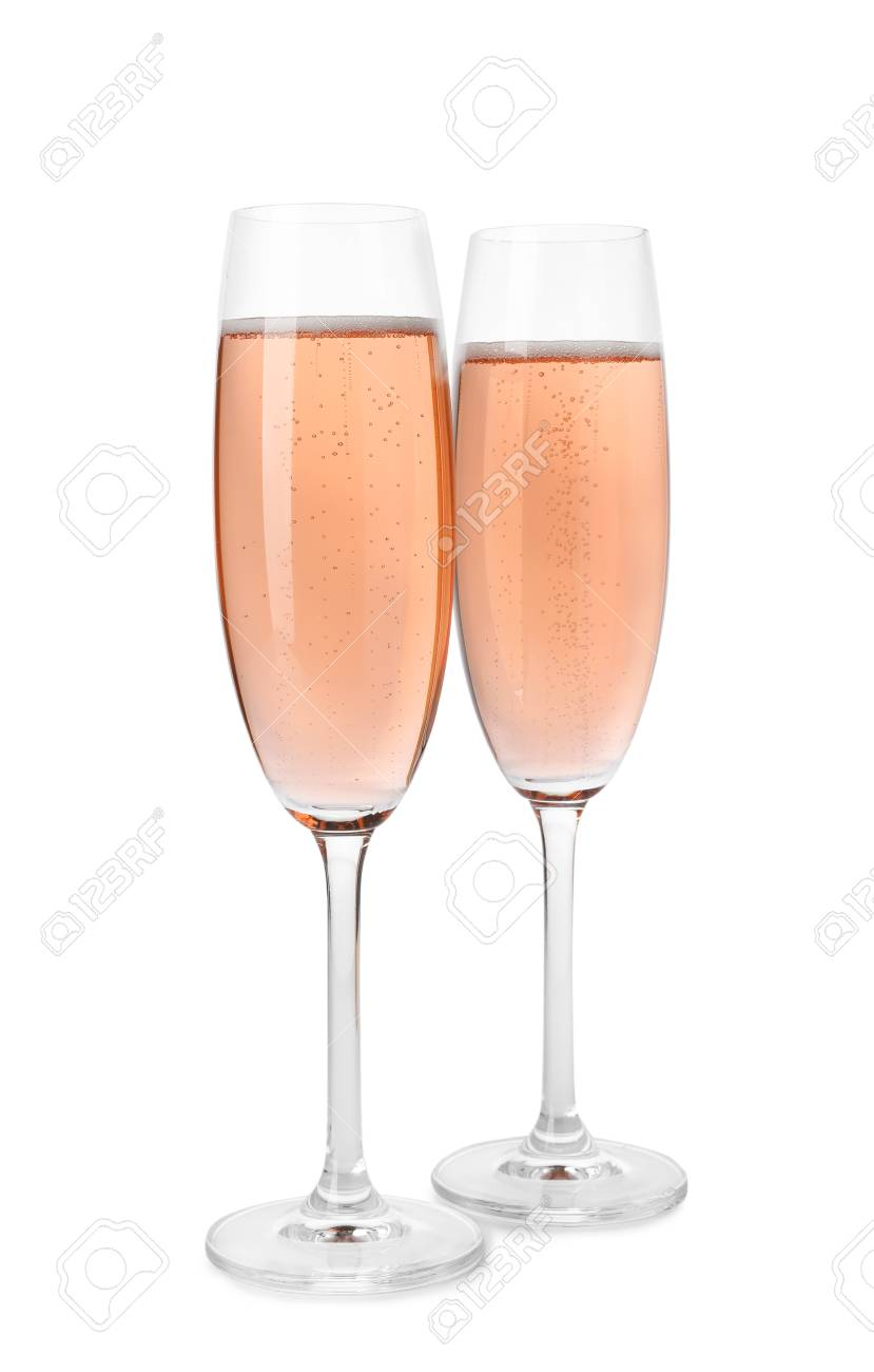 Glasses of rose champagne isolated on white - 122538718