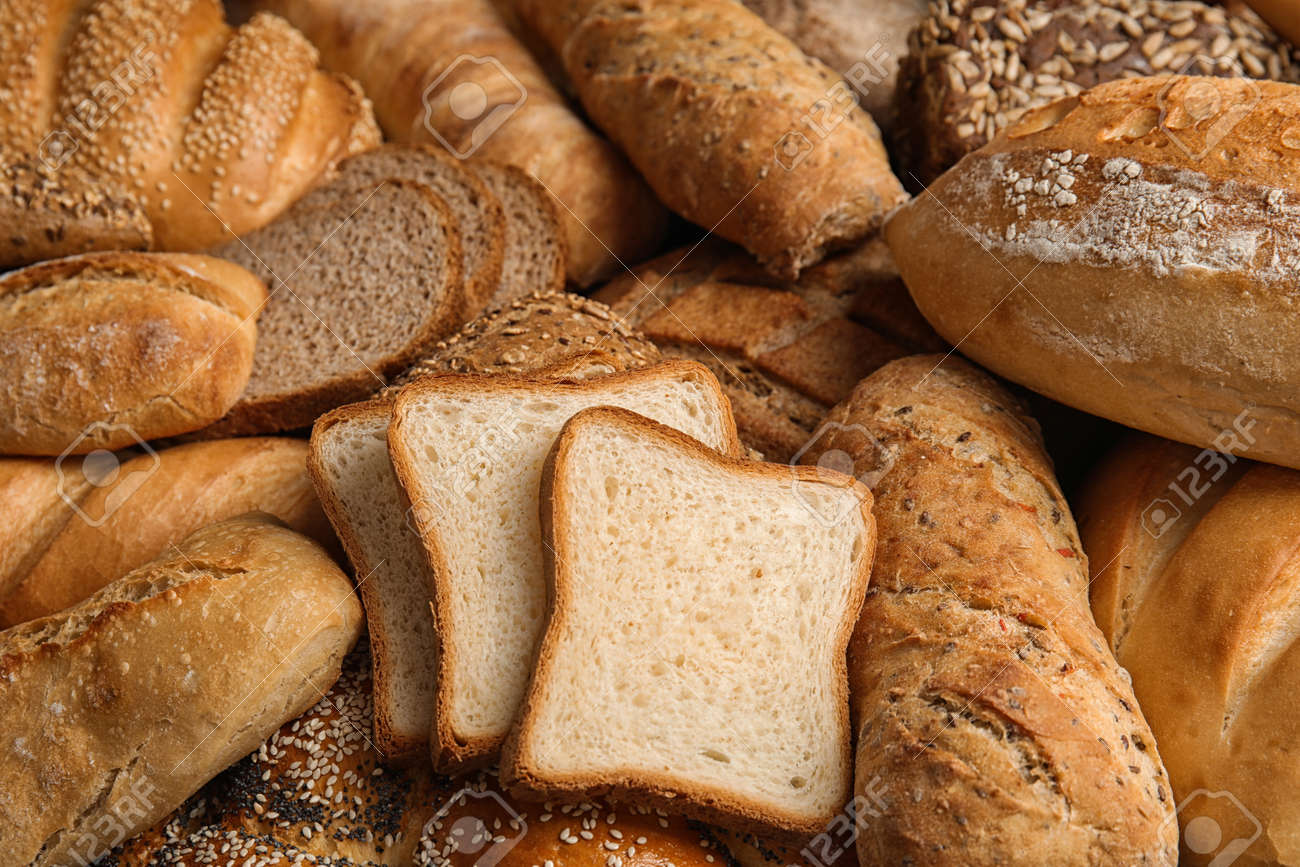 Different kinds of fresh bread as background, closeup - 123097964