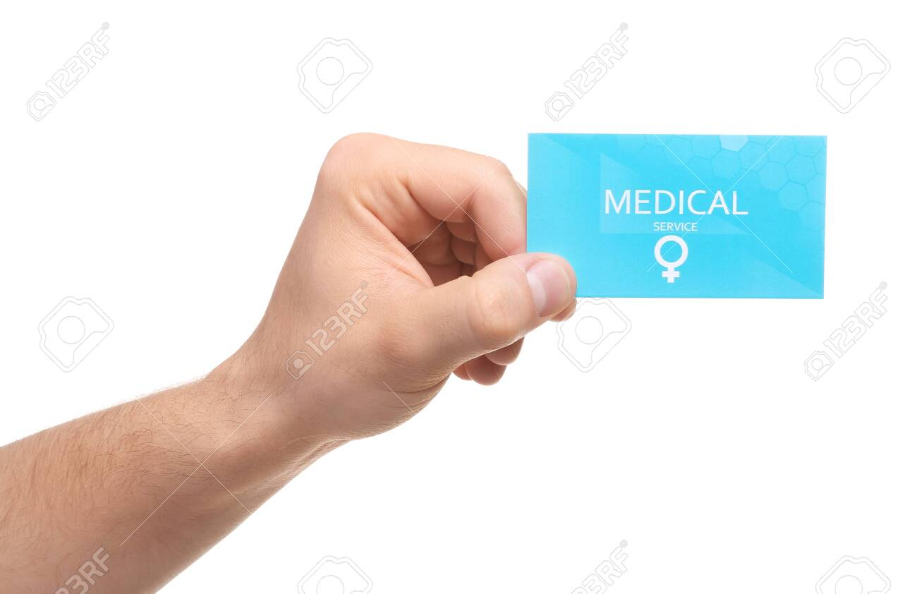 Man holding medical business card isolated on white, closeup. Women's health service - 123935862