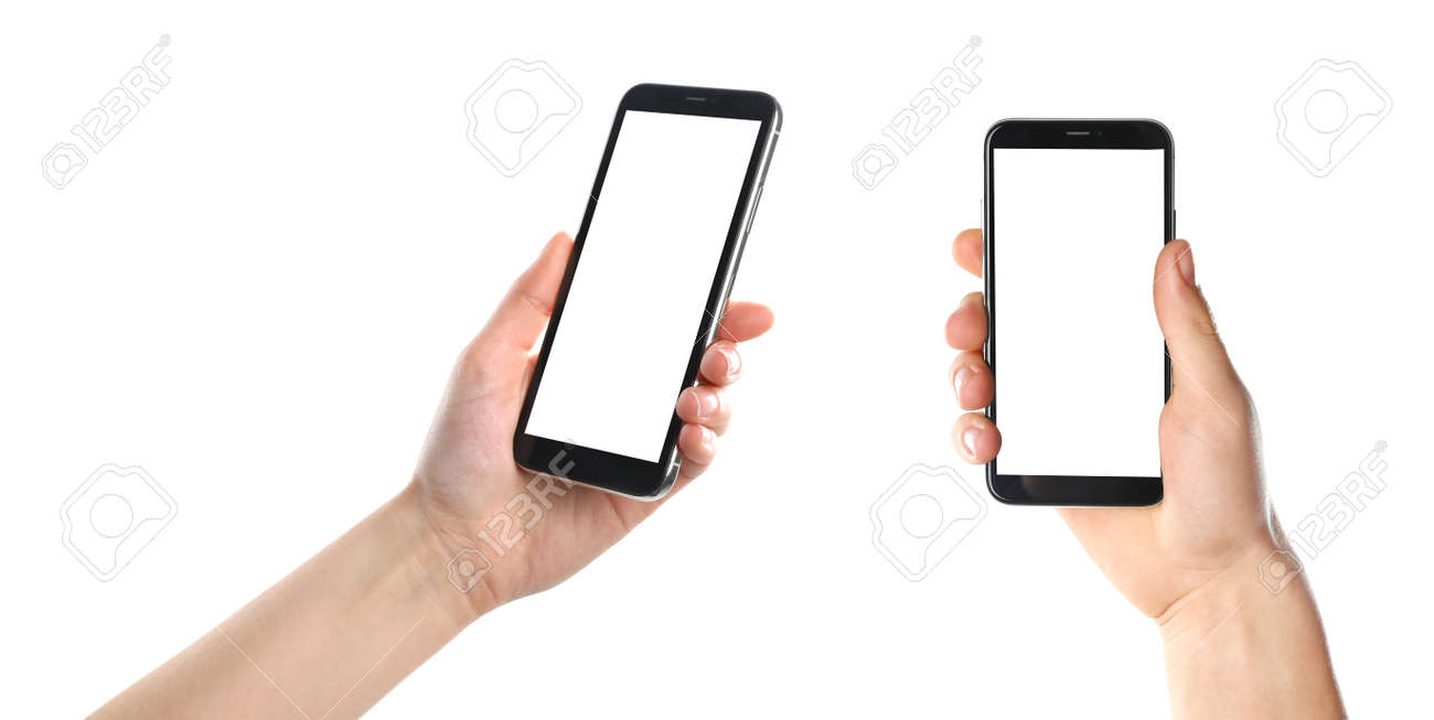 Set with people holding smartphones on white background, closeup of hands. Space for text - 124316940