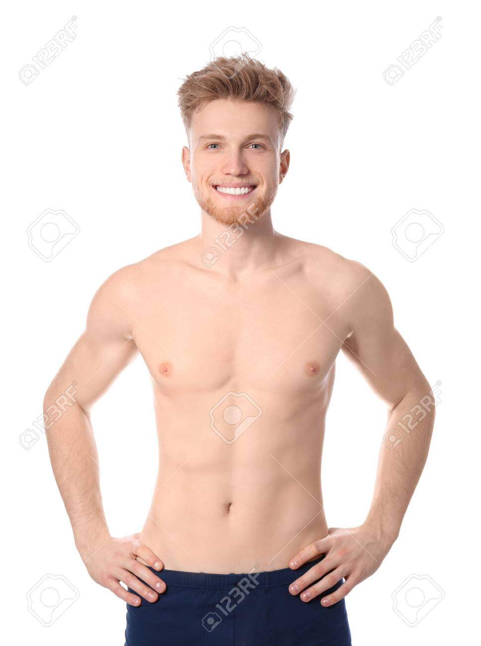 Portrait Of Young Man With Slim Body On White Background Stock ...