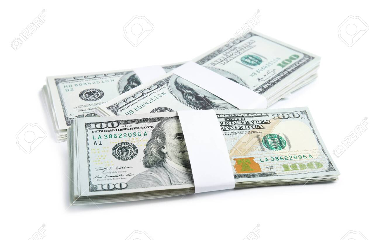 Dollar banknotes on white background. American national currency - 124380456