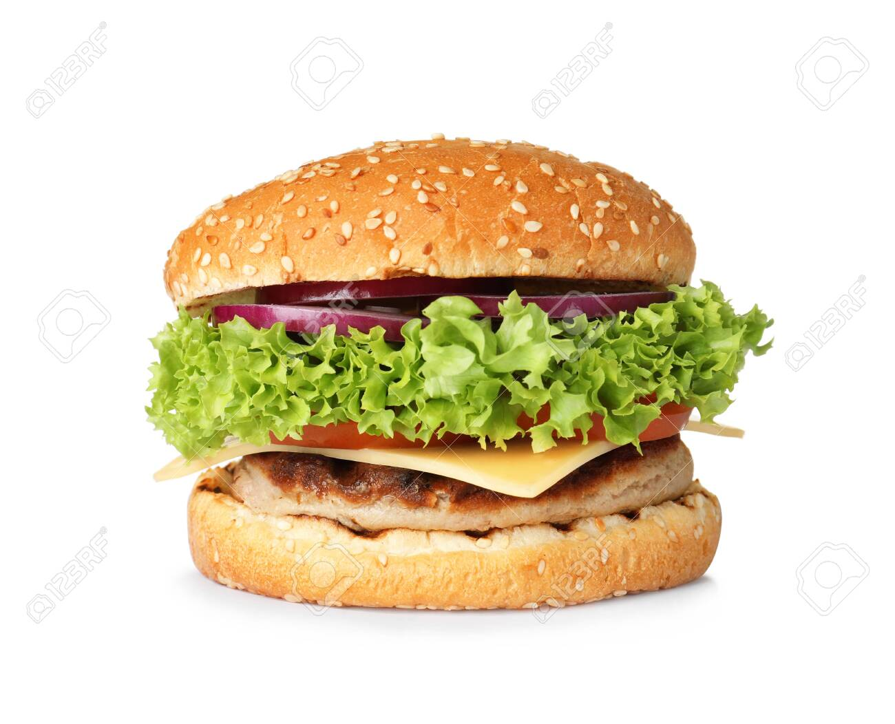 Tasty fresh burger with cutlet isolated on white - 124654609