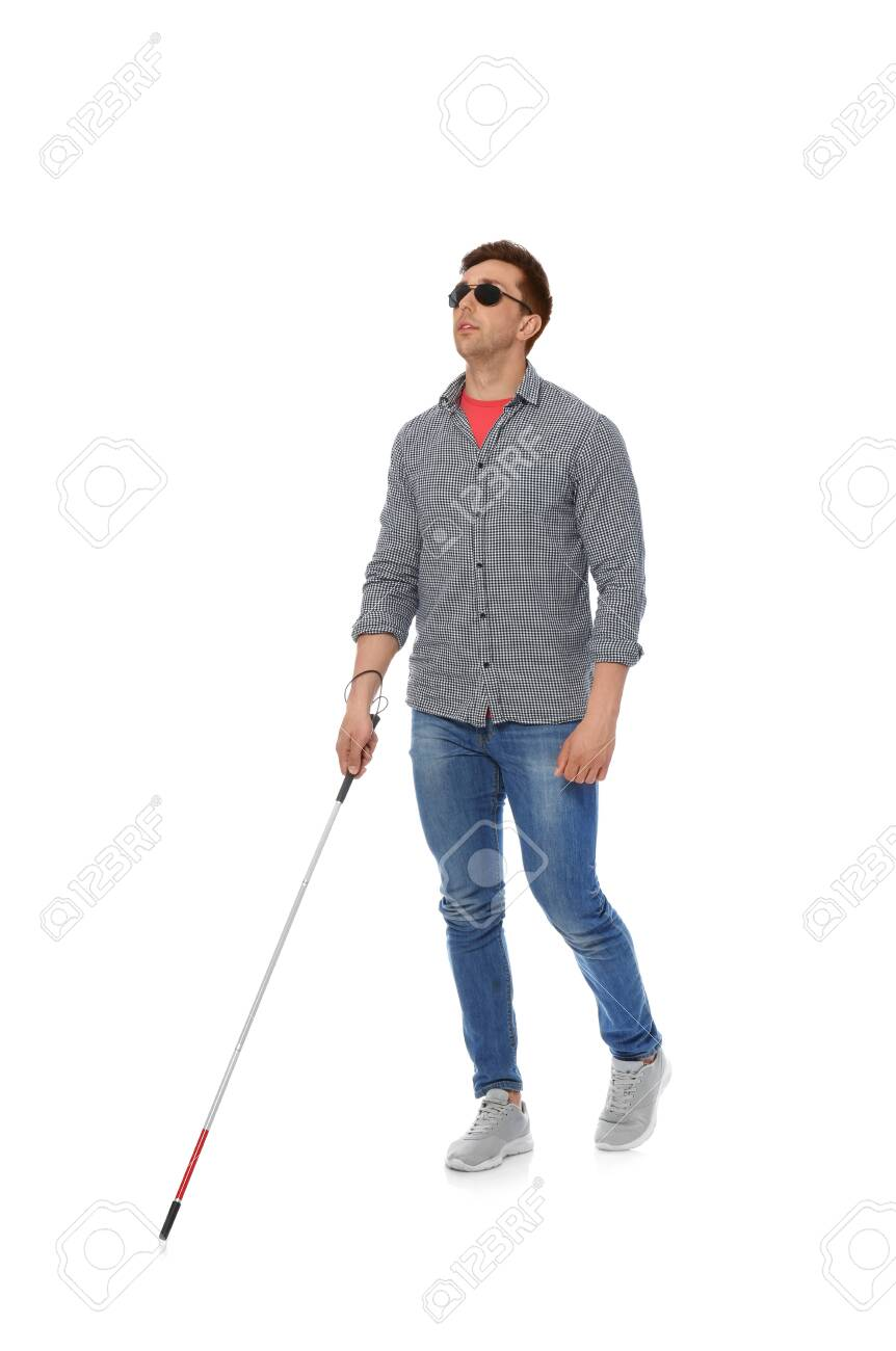 Young Blind Person With Long Cane Walking On White Background Stock Photo Picture And Royalty Free Image Image 125522212