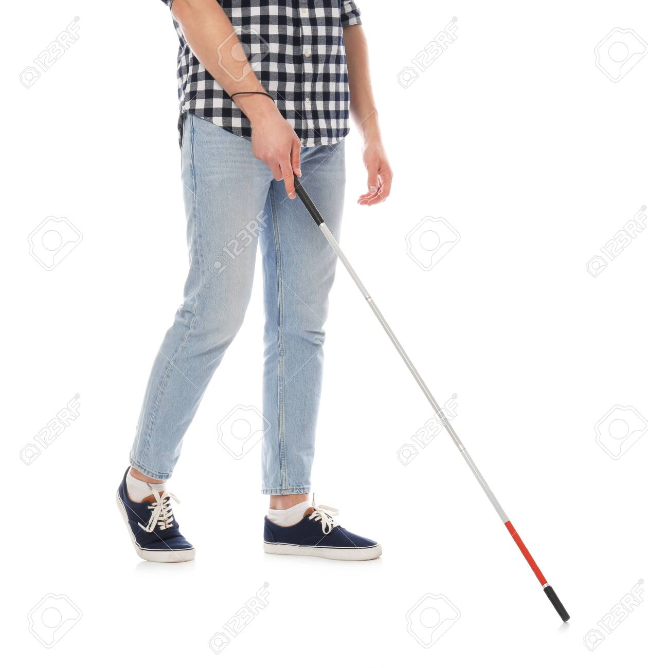 Blind Person With Long Cane Walking On White Background Stock Photo Picture And Royalty Free Image Image 125161094