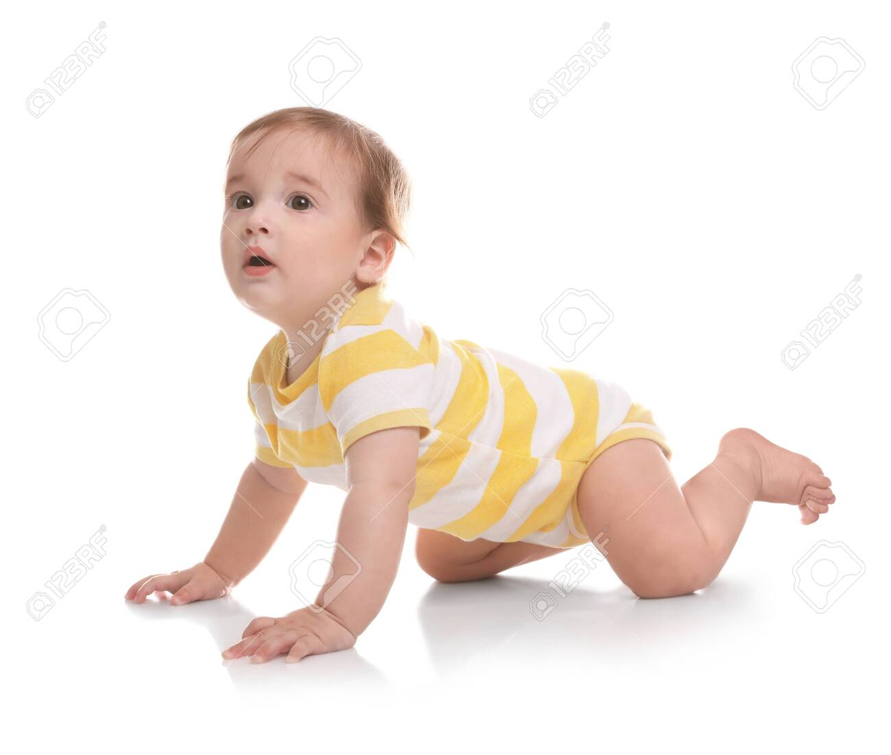 Cute little baby crawling on white background - 125972409