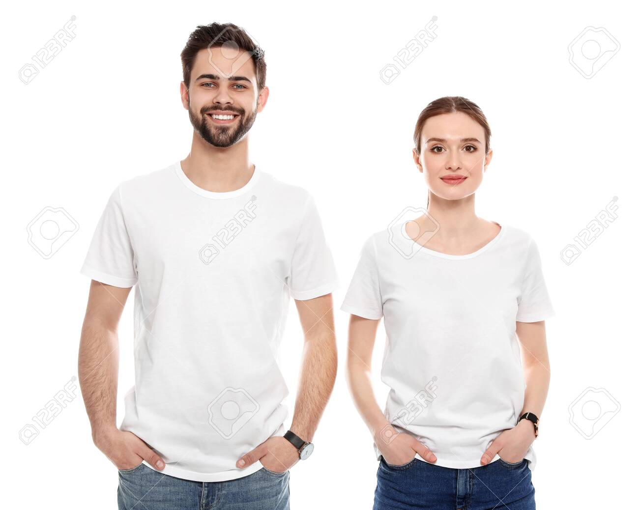 Young people in t-shirts on white background. Mock up for design - 126129943