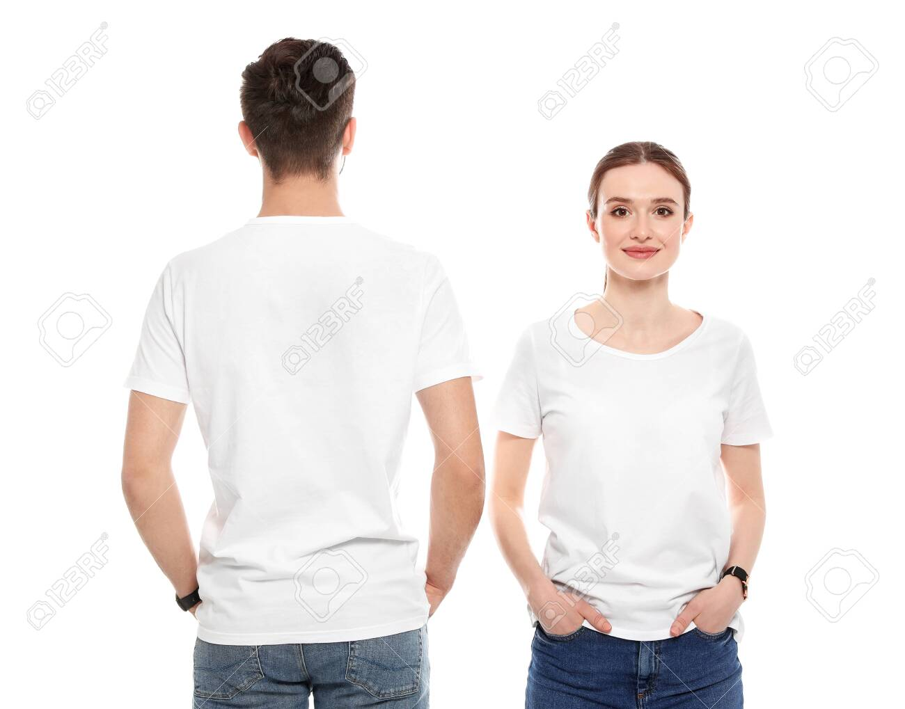 Young people in t-shirts on white background. Mock up for design - 126729997
