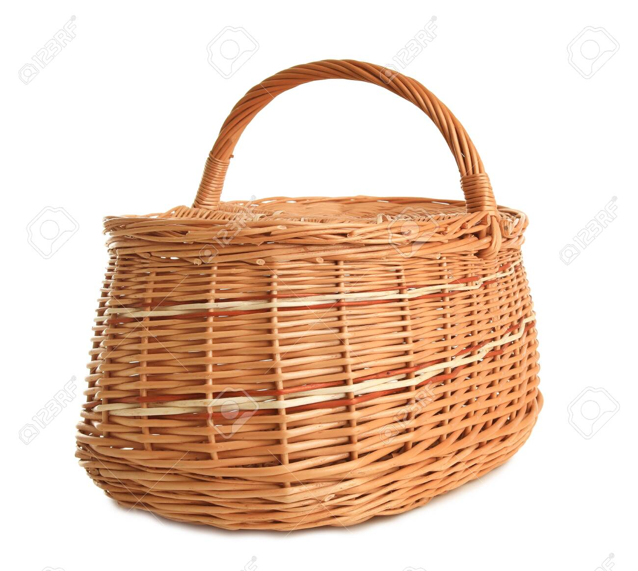 Empty wicker picnic basket isolated on white - 126607707