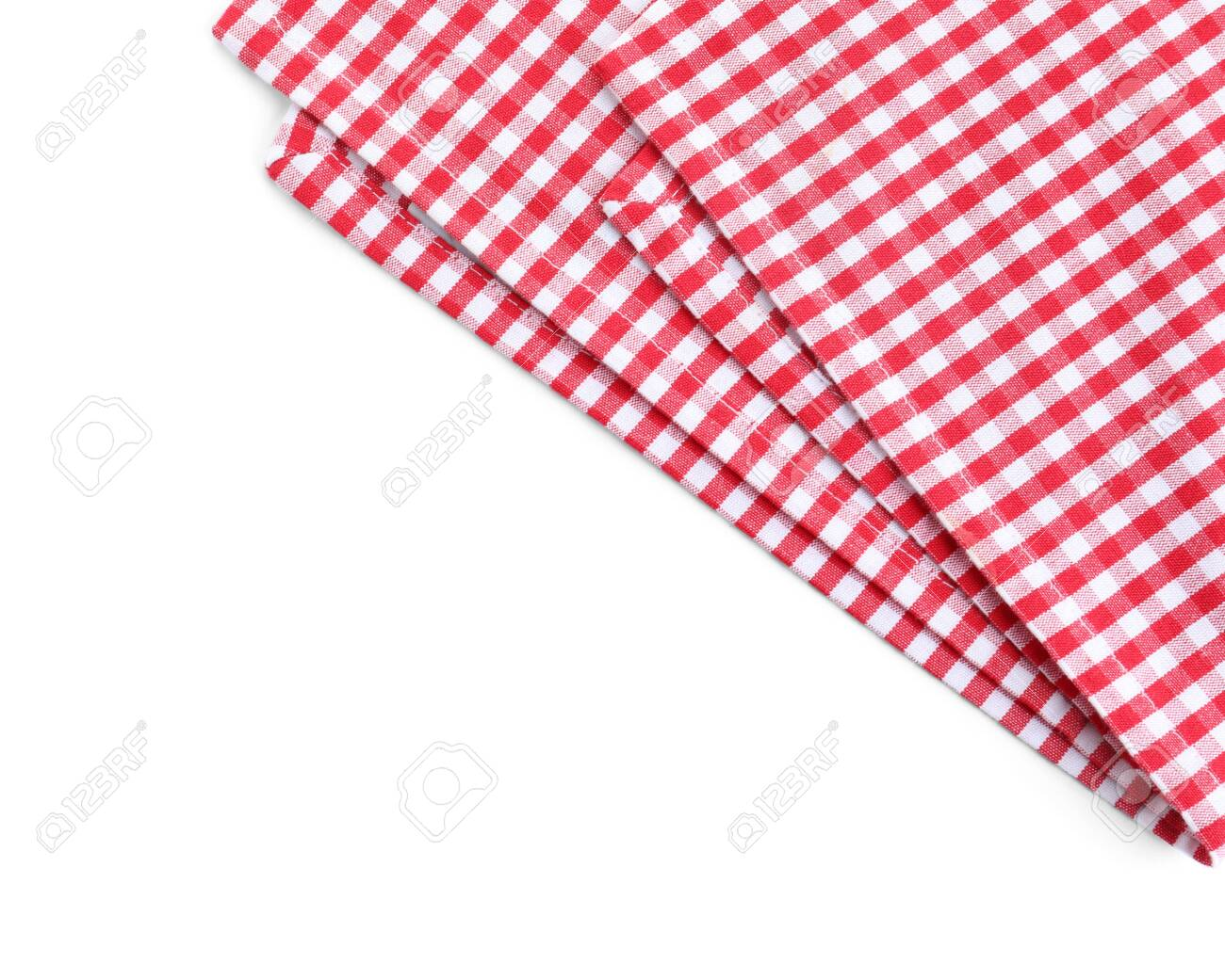 Classic red checkered tablecloth isolated on white, top view - 126753070