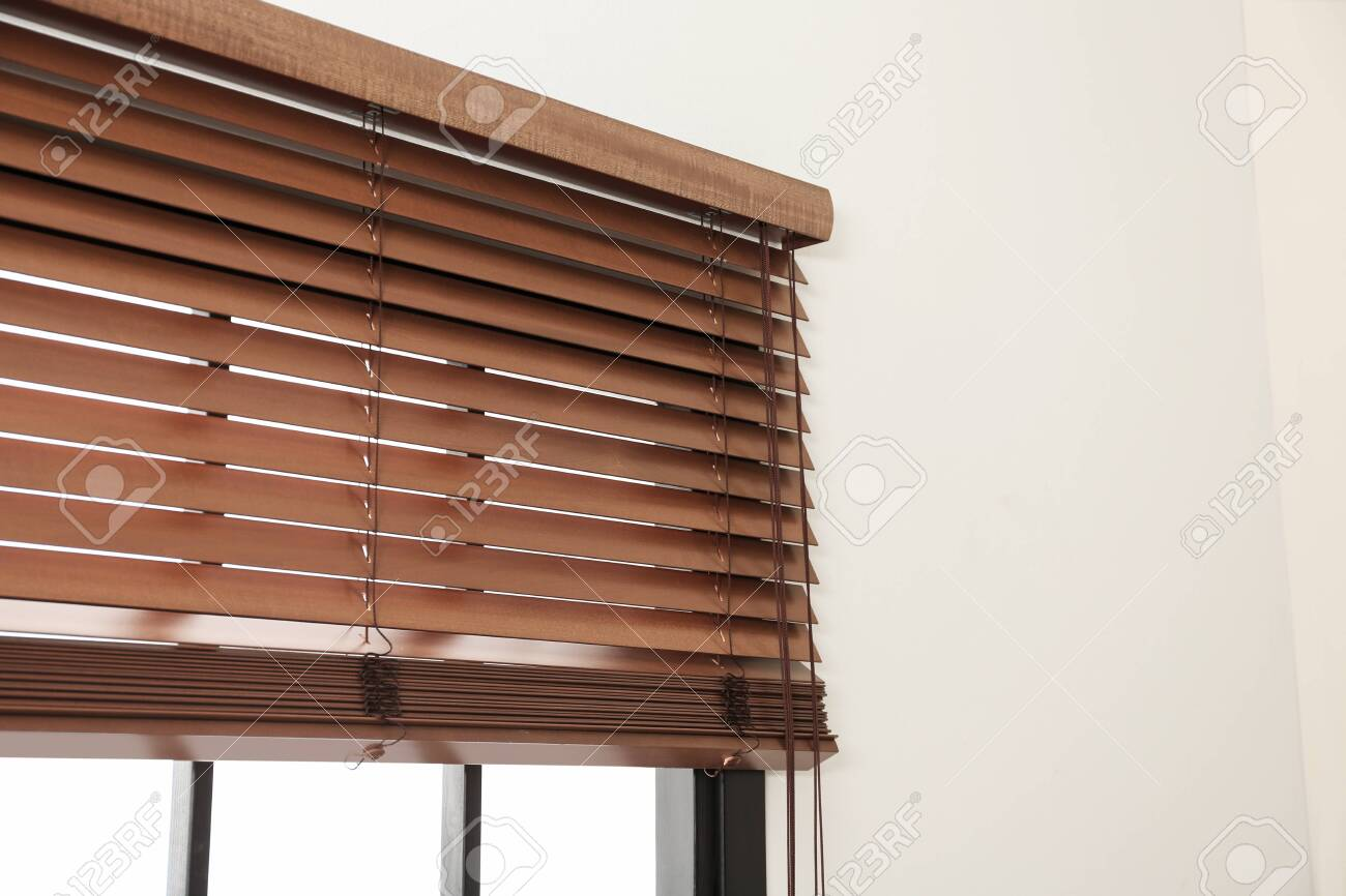 Modern Window With Stylish Wooden Blinds Indoors Space For Text Stock Photo Picture And Royalty Free Image Image 127496842