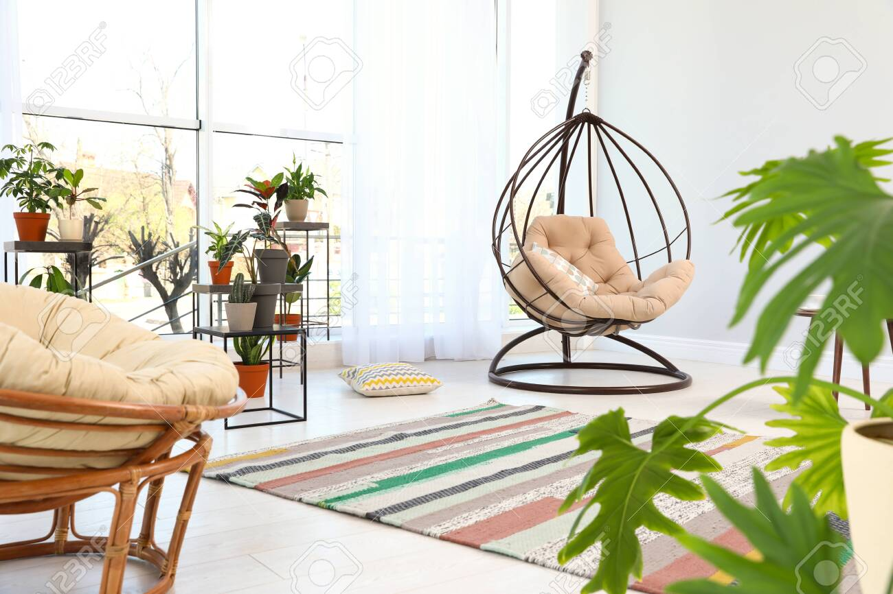 Living Room Interior With Swing Chair And Indoor Plants Trendy Stock Photo Picture And Royalty Free Image Image 127795090