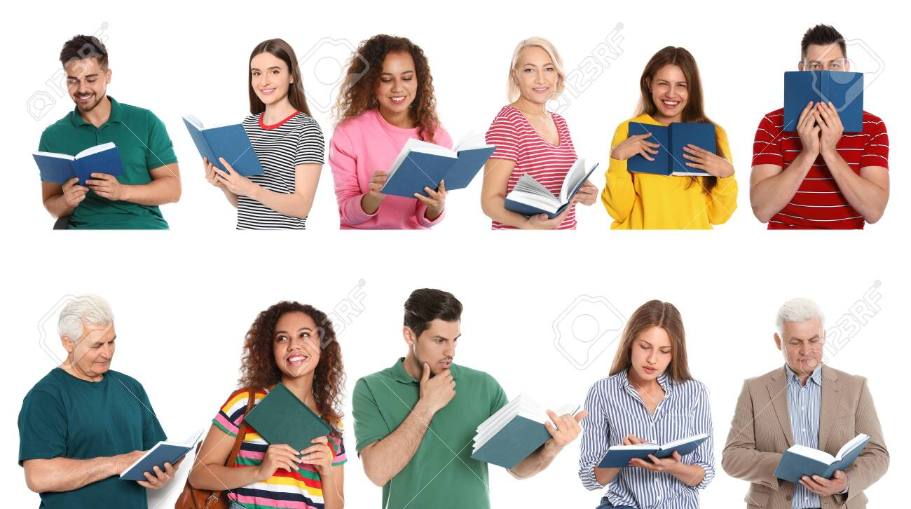 Collage of people reading books on white background - 128577586
