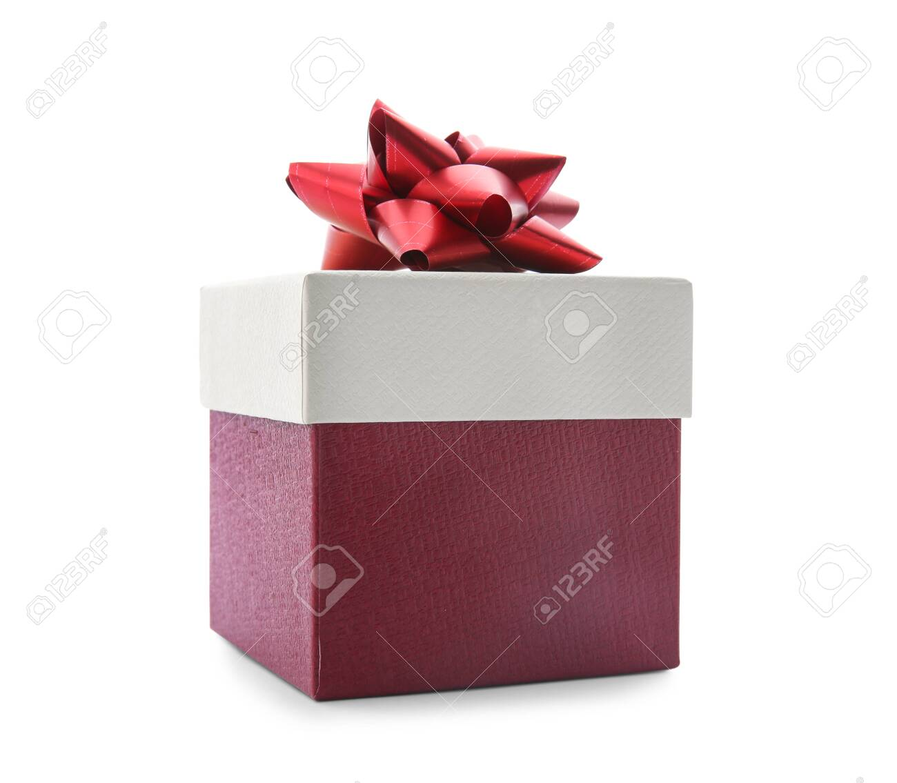 Beautiful gift box with bow on white background - 128471568