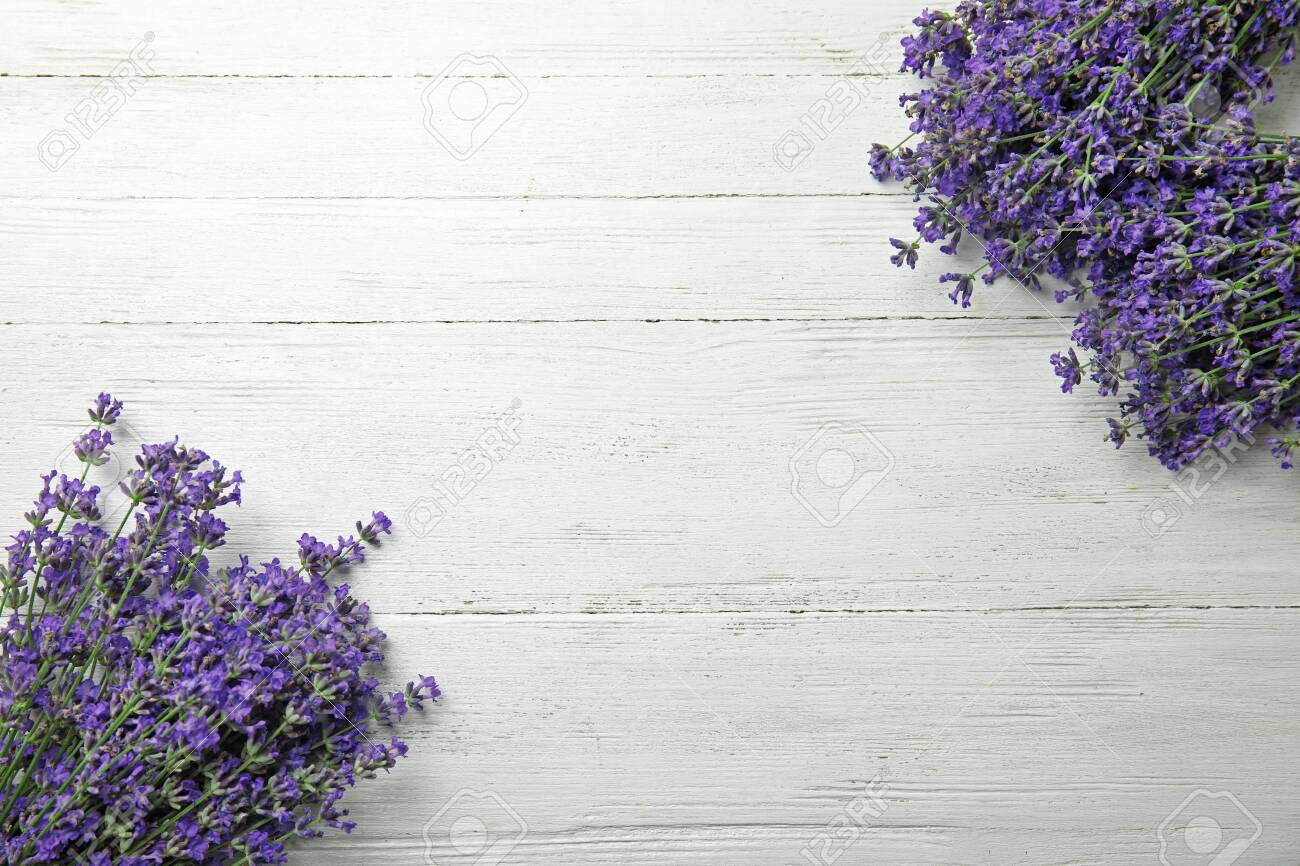 Beautiful tender lavender flowers on white wooden table, top view. Space for text - 128665024