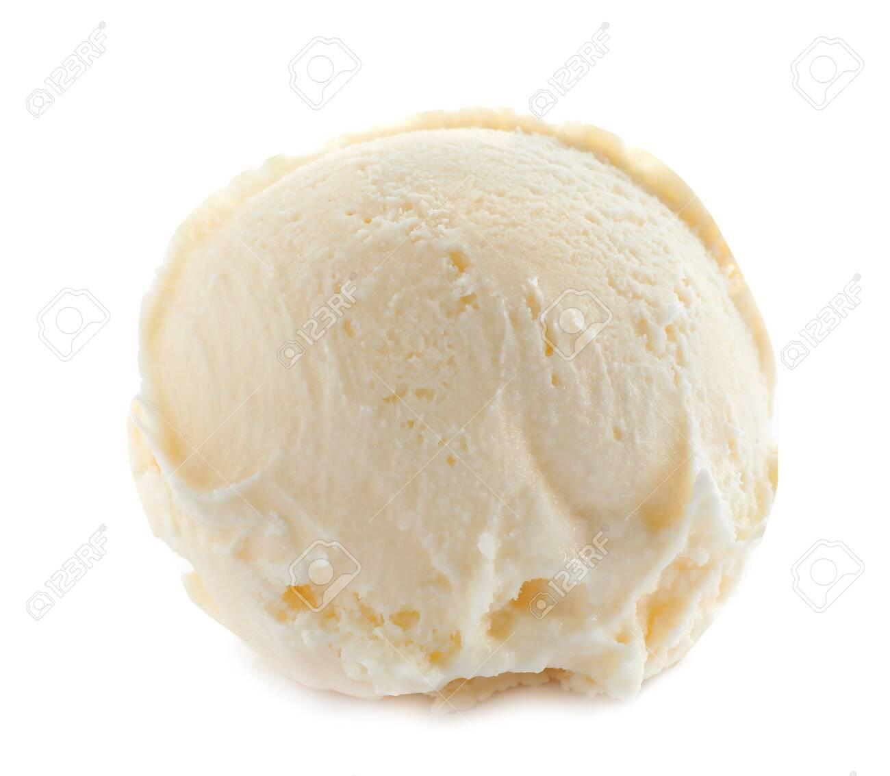 Scoop of delicious ice cream on white background - 128862641