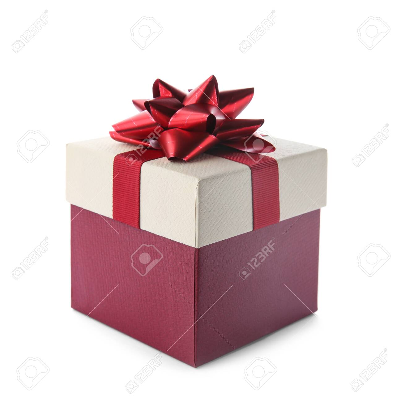 Beautiful gift box with bow on white background - 129329245