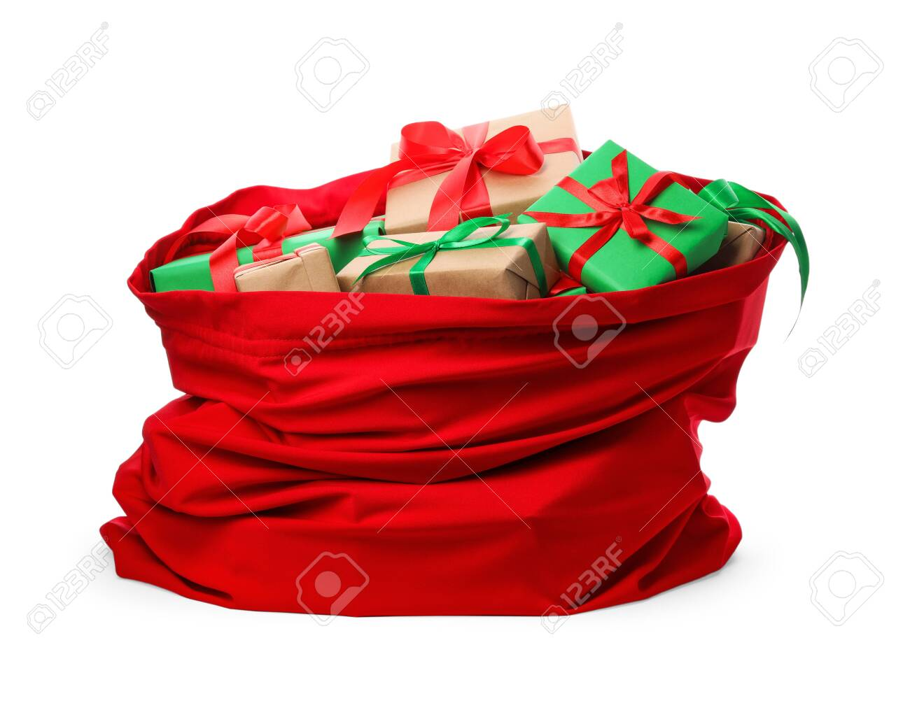 Santa Claus red bag full of presents isolated on white - 129728829