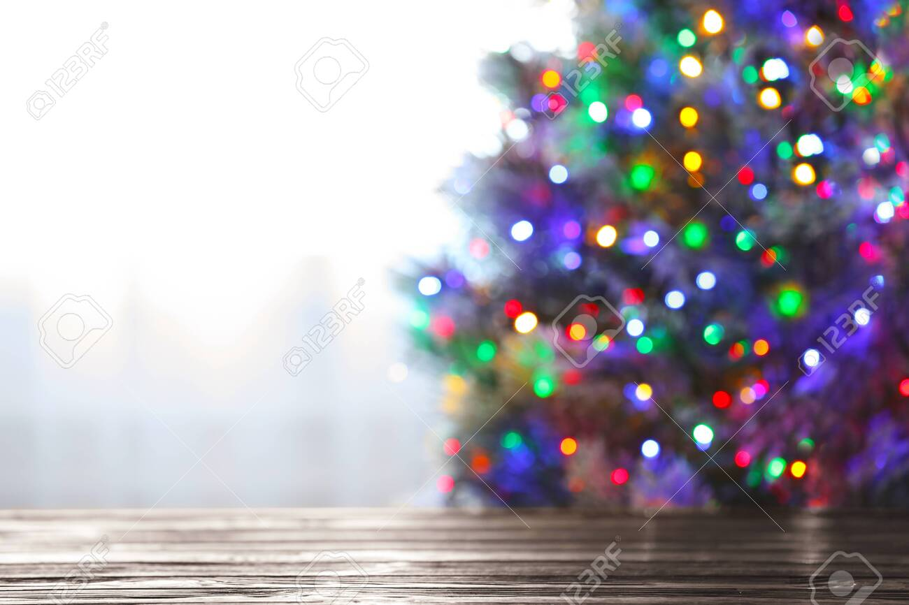 Blurred View Of Beautiful Christmas Tree With Colorful Lights Stock Photo Picture And Royalty Free Image Image 130790728