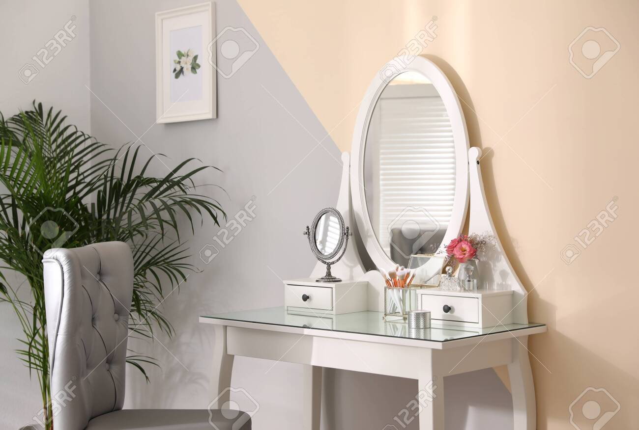 Stylish Room Interior With Modern Dressing Table And Elegant