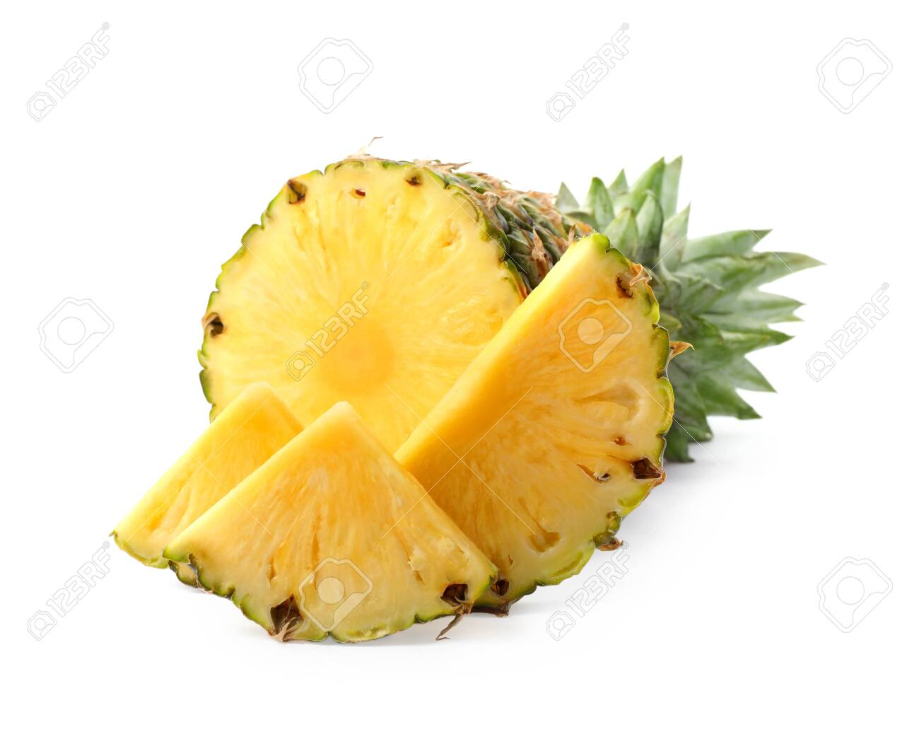 Tasty raw pineapple with slices on white background - 129993319
