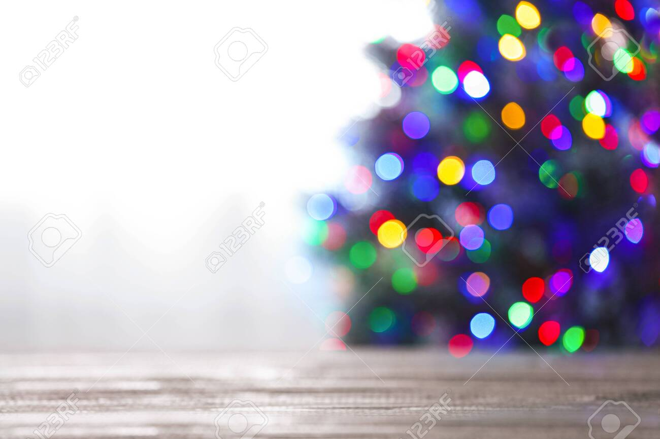 Blurred View Of Beautiful Christmas Tree With Colorful Lights Stock Photo Picture And Royalty Free Image Image 130133859