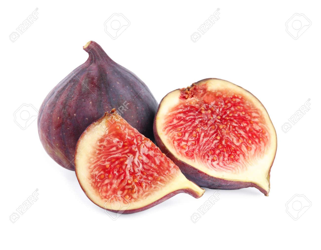 Tasty fresh fig fruits on white background - 130428135