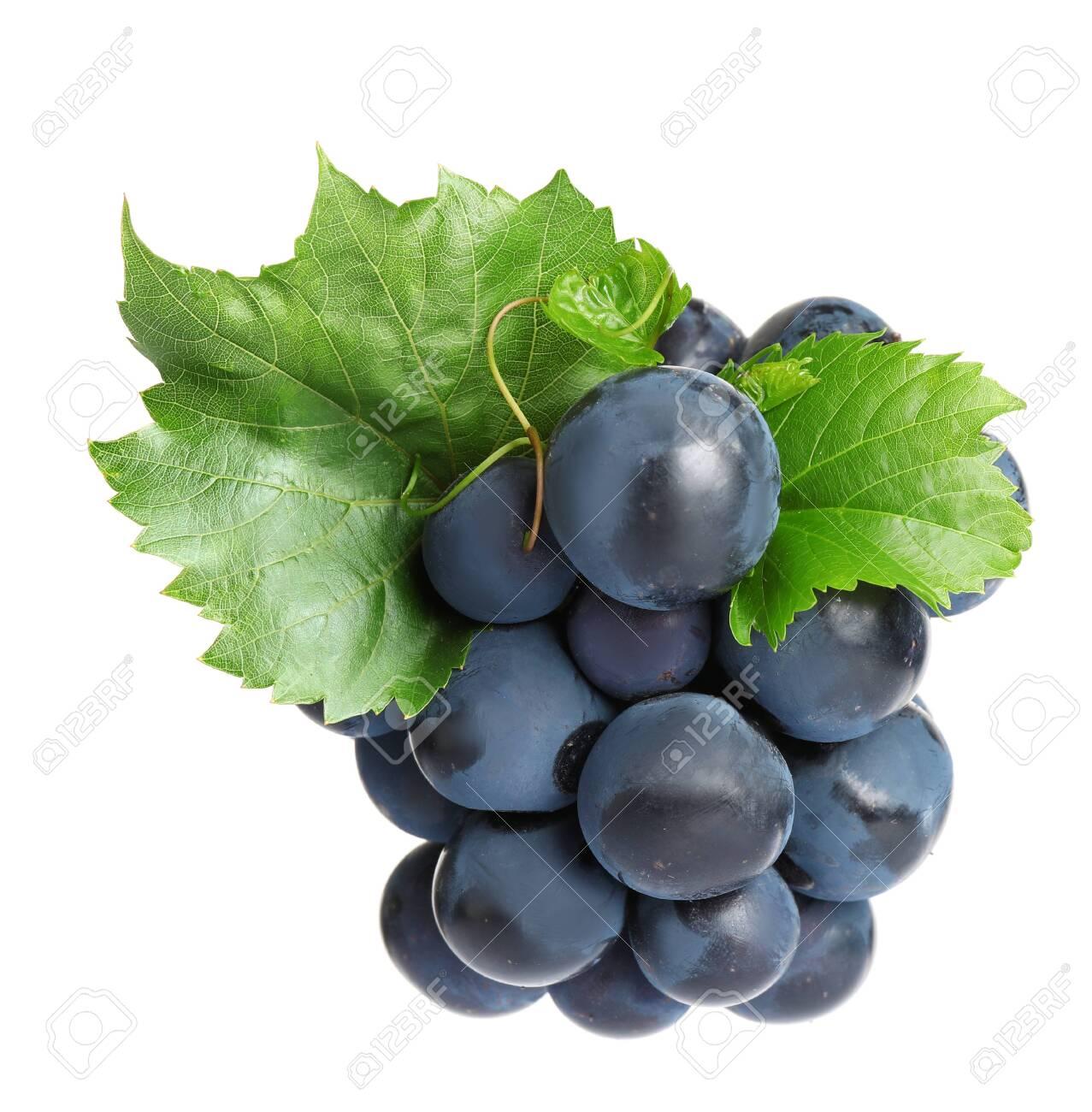 Fresh ripe juicy black grapes isolated on white - 130388242